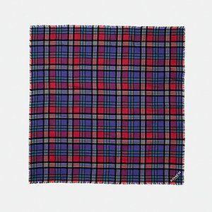 Coach Plaid Tartan Scarf f77768 True Red Wool Wrap